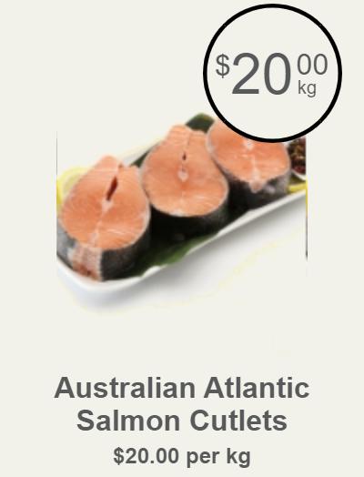 Australian Atlantic Salmon Cutlets, $20.00kg (Save $0.00)