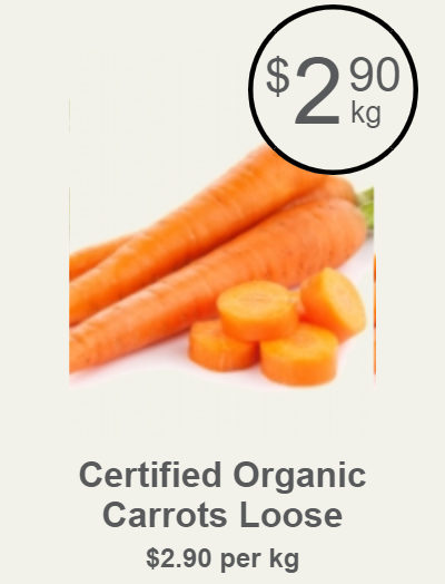 Certified Organic Carrots Loose, $2.90kg (Save $0.00)