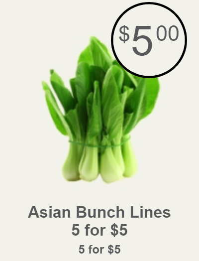 Asian Bunch Lines<br>5 for $5, $5.00 (Save $0.00)