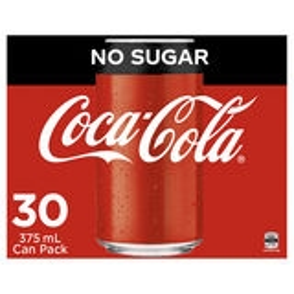 Coke No Sugar 30 x 375ml Cans