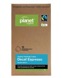 Planet Organic Coffee Capsules Decaf Espresso 10 Pack 50g